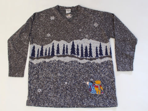 Winnie the Pooh and Eyore, too!  Large, Christmas sweater