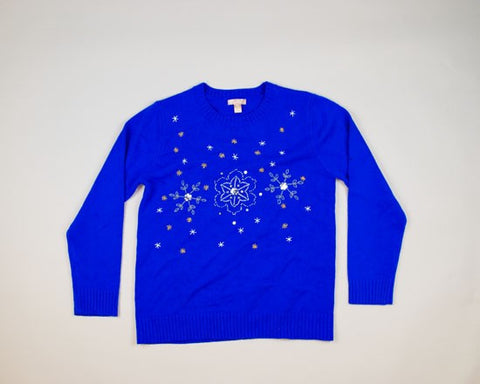 Silver And Gold Snowflakes-Medium Christmas Sweater