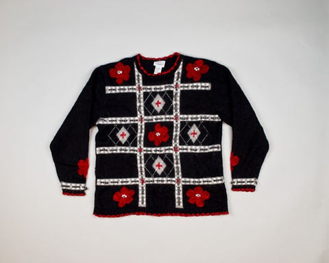 Red Holiday Flowers-Small Christmas Sweater