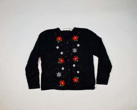 Poinsettias With Snowflakes-Small Christmas Sweater