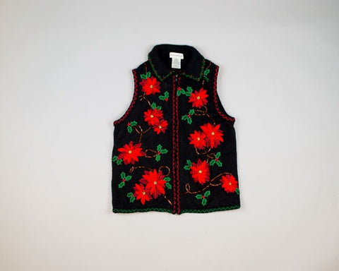 Poinsettias, Poinsettias, Poinsettias-Small Christmas Sweater
