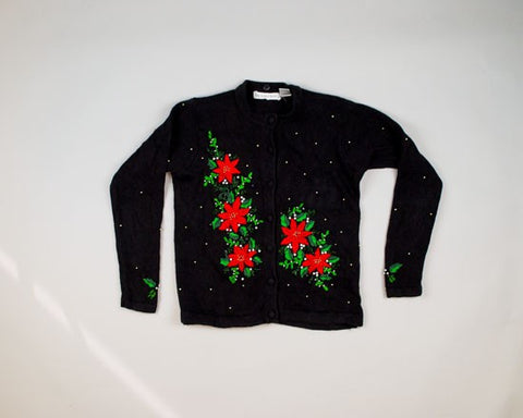 Neat Poinsettias-Small Christmas Sweater