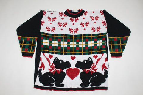 Scottie dogs in love!  Large, Christmas sweater