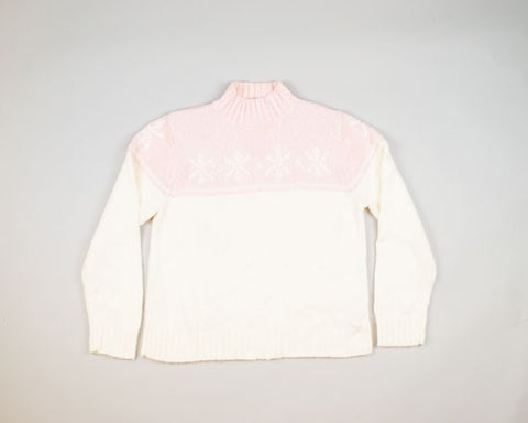 Pink And White Christmas-Medium Christmas Sweater