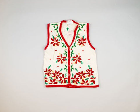 Piles Of Poinsettias-Small Christmas Sweater