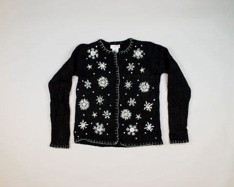 Pearl And Opalescent Snowflakes-X-Small Christmas Sweater