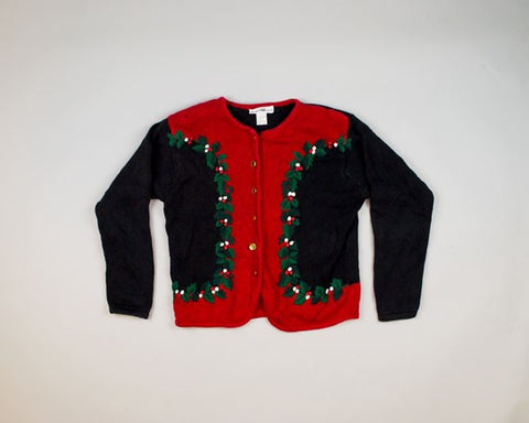 Holly Berry Leaves-Small Christmas Sweater
