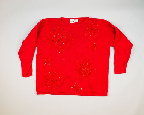 Red Beaded Snowflakes-XX-Large Christmas Sweater+
