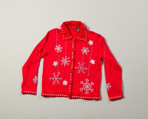 Snowflakes on Red-Small Christmas Sweater
