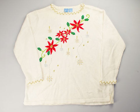Poinsettias And Snow-Large Christmas Sweater