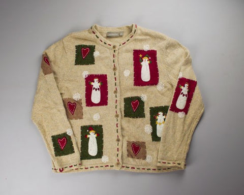 Red, Green And Tan All Over-Small Christmas Sweater
