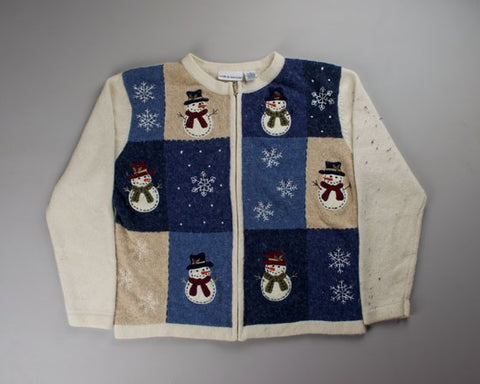 Stitched Snowmen-Small Christmas Sweater