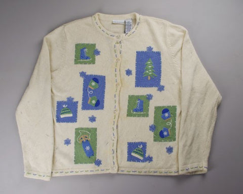 Light Green And Blue-Large Christmas Sweater