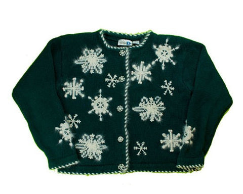 Fuzzy Snowflakes-Small Christmas Sweater