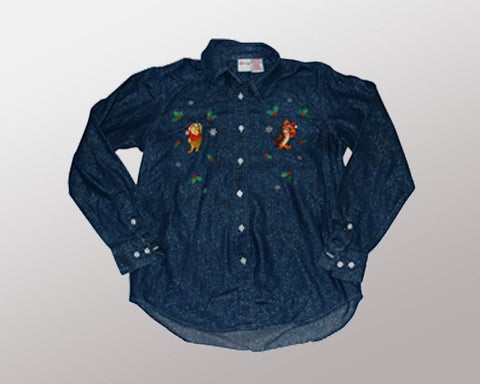 Tigger n' Pooh (Denim Long Sleeve)-Medium