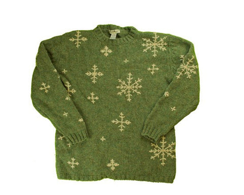 Tan Snowflakes-Small Christmas Sweater