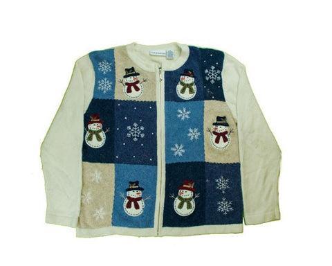 Blocks Of Snowmen-Small Christmas Sweater