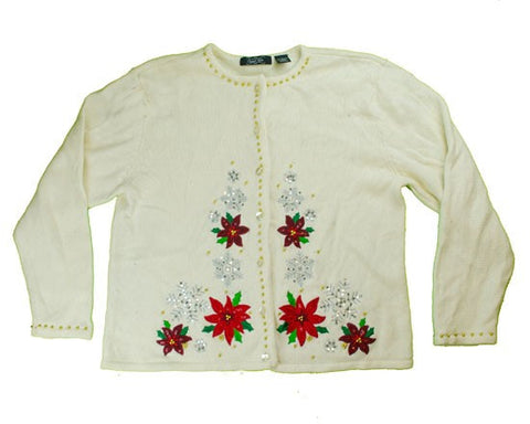Falling Snow And Flowers-Large Christmas Sweater
