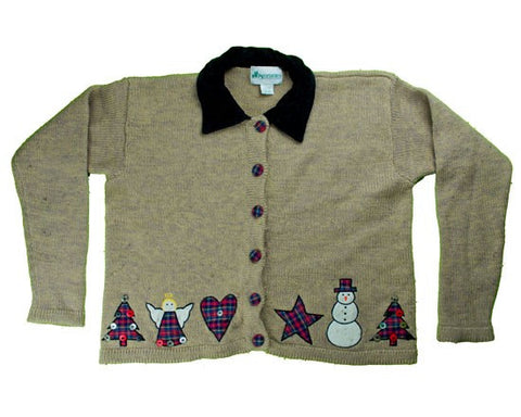 Patches And Buttons-Large Christmas Sweater