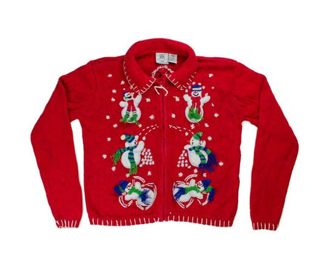 Snow Ball Fight-Kids Christmas Sweater