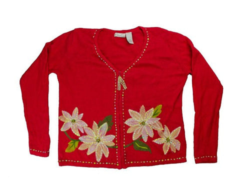 Fuzzy Flowers-Small Christmas Sweater