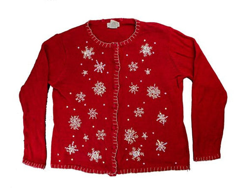 Beaded Snow-Large Christmas Sweater