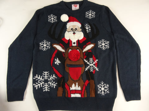 Santa Riding Rudolph Beer Holder Christmas Sweater