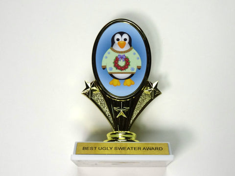 "Ugly Sweater Award Trophy with Penguin 5 3/4"" tall"