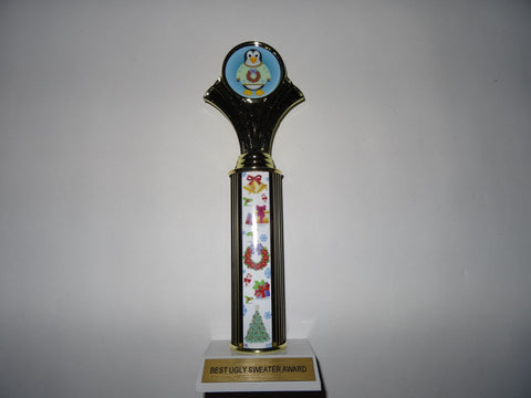 "Awesome Ugly Sweater Award Trophy 12"" Penguin"
