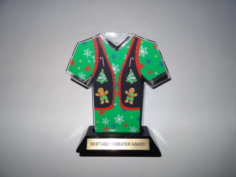 "Awesome Ugly Sweater Award Trophy 7"" sweater-Green"