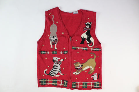 Cute Kittens/cats playing with mouse and yarn, Small, Christmas Sweater