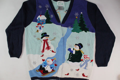 Snowmen playing, Large, Christmas Sweater