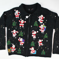 Santa with christmas Trees and reindeer Small Size Christmas Sweater