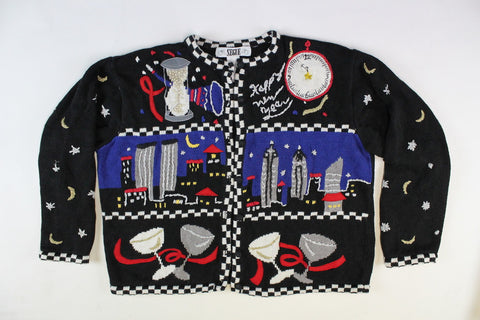 Celebrating New Year's in New York,Large, New Year's Eve, Christmas Sweater