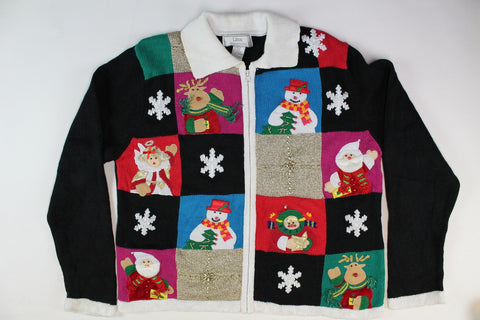 Patchwork design with Santas, reindeer, Large Size. Christmas Sweater