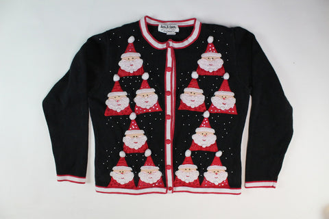 Beaded Santas  X-Small  Christmas sweater