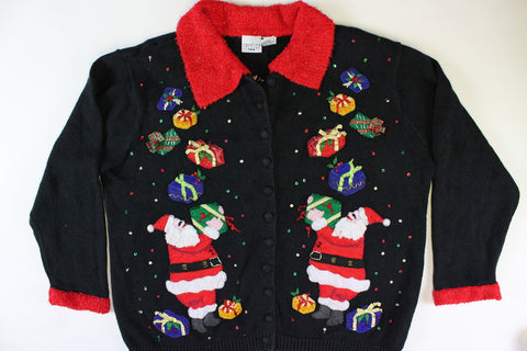 Santas with presents, Large Size. Christmas Sweater