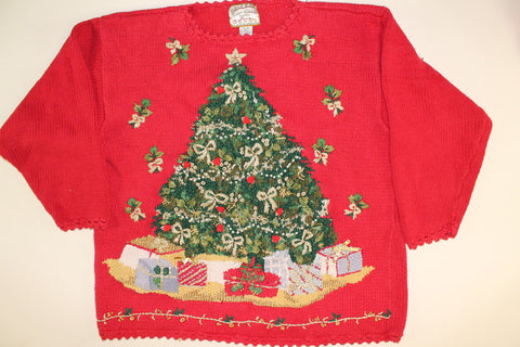 Light Up Golden Tree with Lights!- Large Christmas Sweater