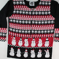 Snowmen holding Hands, Size Small Christmas Sweater