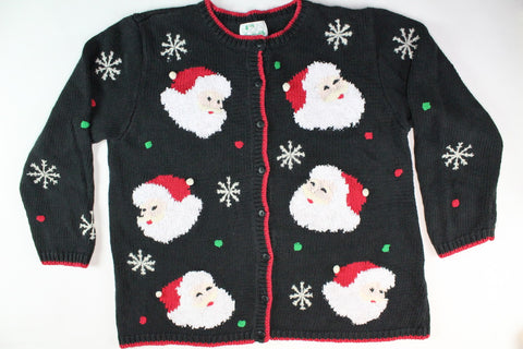 Jolly Santas Faces. Size Large. Christmas Sweater