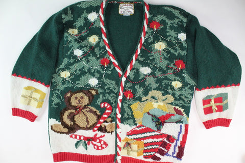 Teddy bear under Christmas Tree. Extra large XL, Christmas Sweater