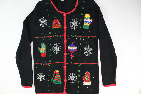 Colorful hats and mittens. Size Extra Small. Christmas Sweater