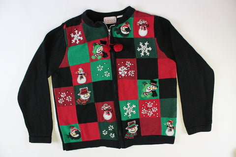 Checkerboard design with all sorts of different snowmen. Size Small. Christmas Sweater