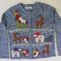 Santa and Friends. All the characters of Christmas, Size Small. Christmas Sweater