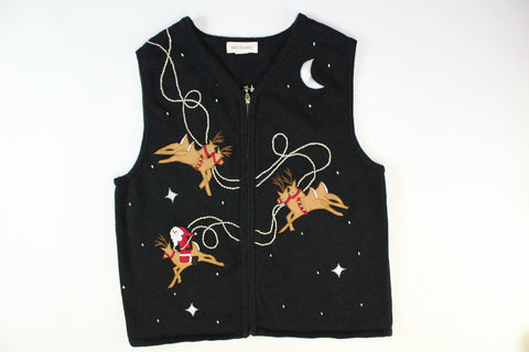 Flying Reindeer with Santa. vest. Size Small. Christmas sweater