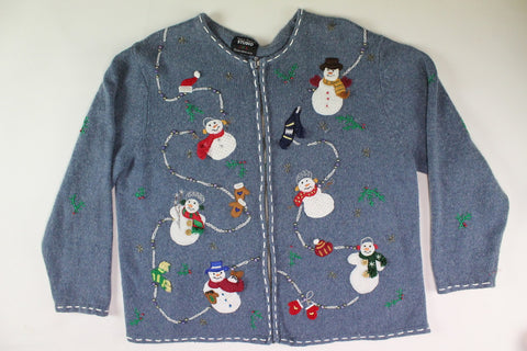 Snowmen on parade.  Size Large. Christmas sweater