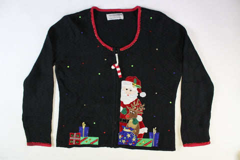 Santa with a reindeer with gifts.  Size Small. Christmas Sweater