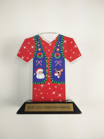 "Awesome Ugly Sweater Award Trophy 7"" sweater-Red"