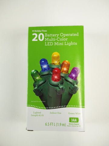 Holiday Time 20 ct LED Mini Lights Battery Powered Multi Colored