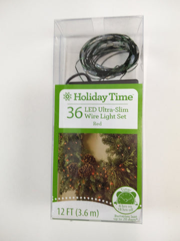Holiday Time 36 ct ultra Slim LED Mini Lights Battery Powered Red Color